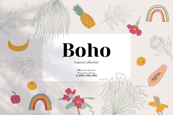 Boho Tropical Abstract Elements Graphic Objects By neauth