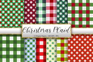Print on Demand: Christmas Plaid Background Digital Paper Graphic Backgrounds By PinkPearly