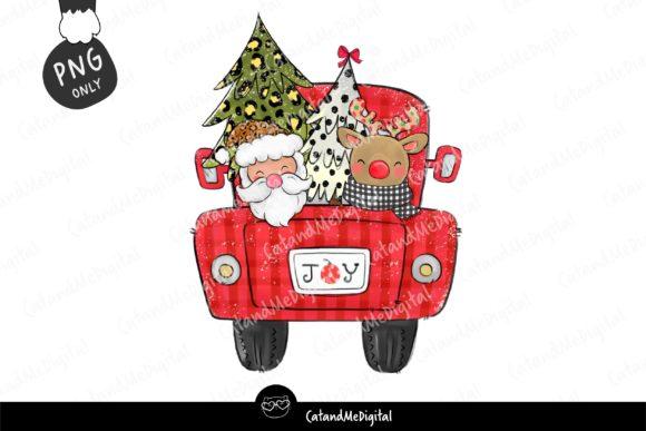 Christmas Santa Red Truck Graphic Illustrations By CatAndMe