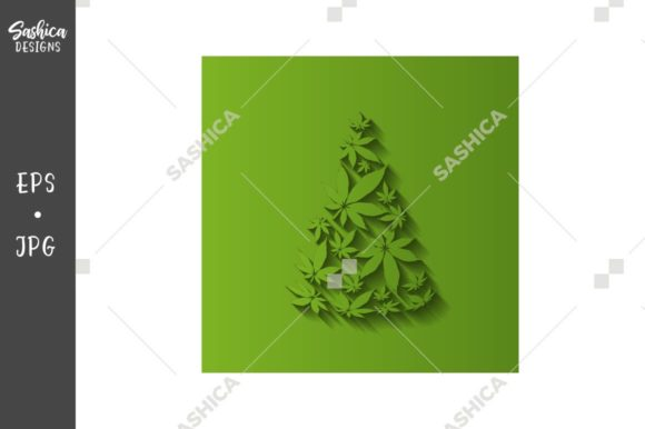 Christmas Tree - Cannabis Leaves Vector Graphic Illustrations By sashica designs
