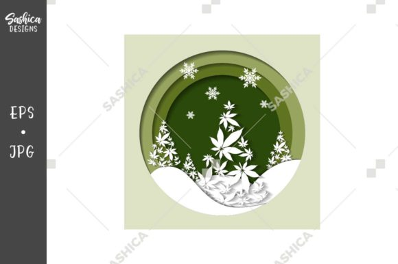 Christmas Tree and Weed Leaves Vector Graphic Illustrations By sashica designs