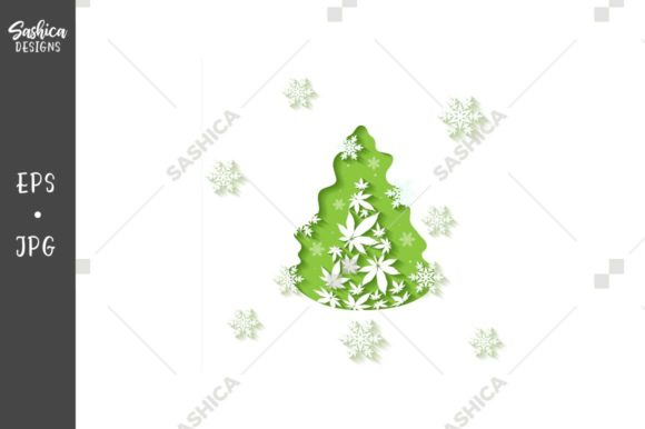 Christmas Tree Cut out Vector Background Graphic Illustrations By sashica designs