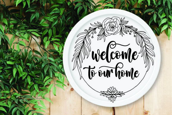 Circle Floral Wreath Farmhouse Sign SVG Graphic