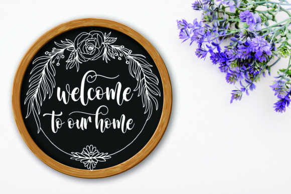 Circle Floral Wreath Farmhouse Sign SVG Graphic Download