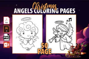 Print on Demand: Cute Christmas Angels Coloring Book Graphic Coloring Pages & Books Kids By MK DESIGN