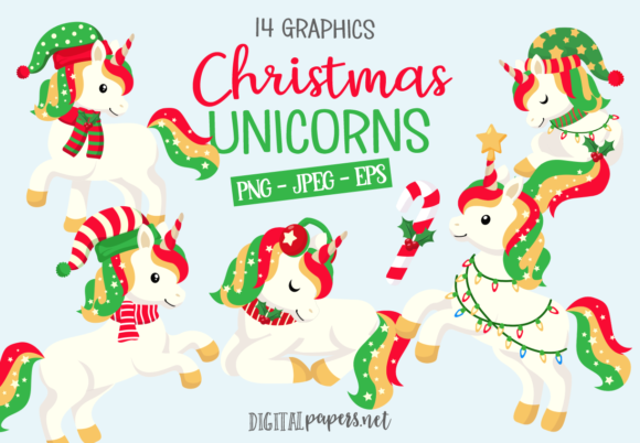 Cute Christmas Unicorns Graphic