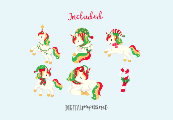 Cute Christmas Unicorns Graphic Download