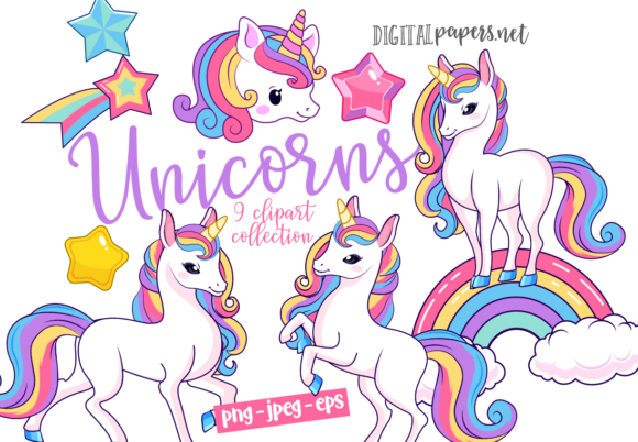 Print on Demand: Cute Magical Unicorns Graphic Illustrations By DigitalPapers