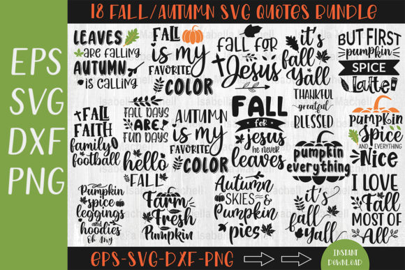 Fall/Autumn Svg Quote Bundle Graphic Crafts By Designvillage