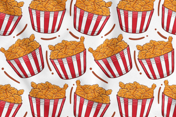 Fried Chicken Seamless Pattern Graphic Patterns By medzcreative