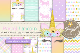Pastel Unicorn Digital Paper and Clipart Graphic Backgrounds By jennyL_designs