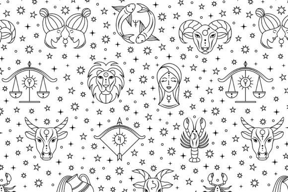 Pattern with Zodiac Signs and Stars. Graphic Patterns By fatamorganaoptic