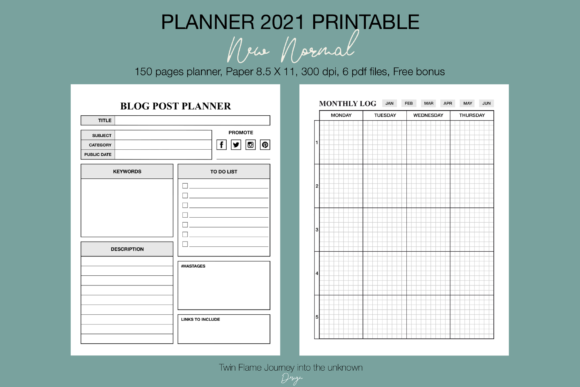 Planner 2021 New Normal Printable Graphic Design Item