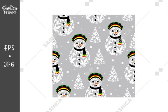 Rasta Snowman Vector Seamless Pattern Graphic Patterns By sashica designs