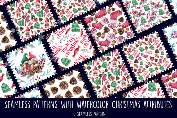 Print on Demand: Seamless Patterns Watercolor Christmas Graphic Patterns By Natika_art