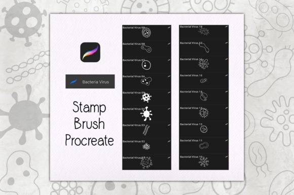 Print on Demand: Stamp Brush Procreate | Bacterial Virus Graphic Brushes By Gii Digital Art