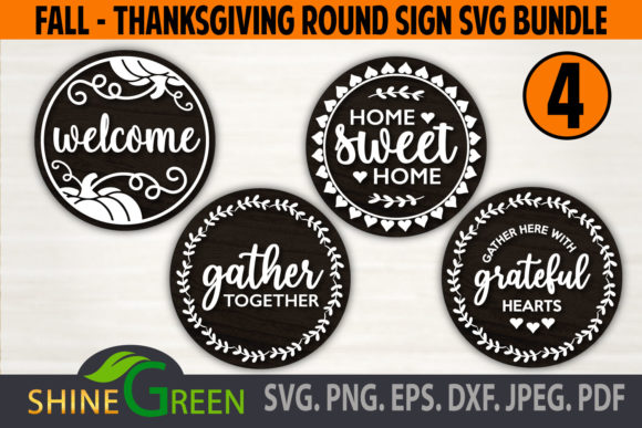 Print on Demand: Thanksgiving SVG Bundle Round Home Sign Graphic Crafts By ShineGreenArt