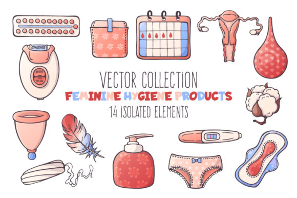 Vector Feminine Hygiene Accessories Set. Graphic Illustrations By pomelkomy