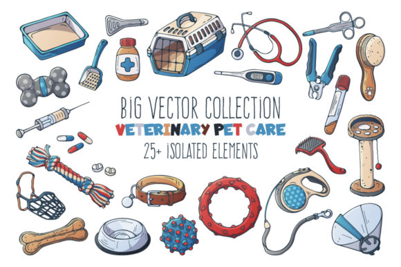 Vector Veterinary Pet Care Accessories. Graphic Illustrations By pomelkomy