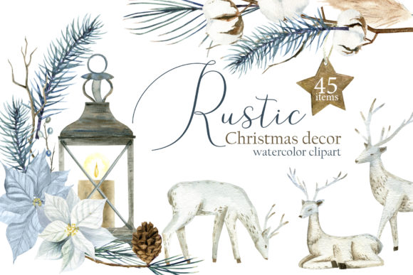 Watercolor Rustic Christmas Clipart Grafik Illustrationen von lena-dorosh