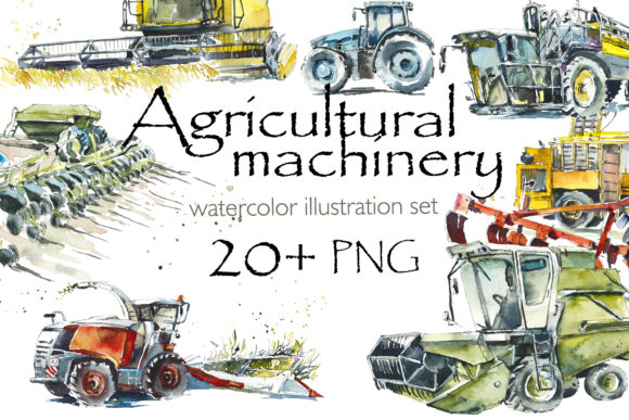 Watercolor Agricultural Machinery Graphic Illustrations By Мария Кутузова