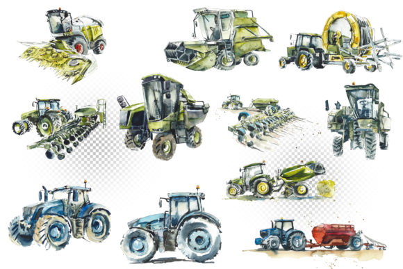 Watercolor Agricultural Machinery Graphic Download
