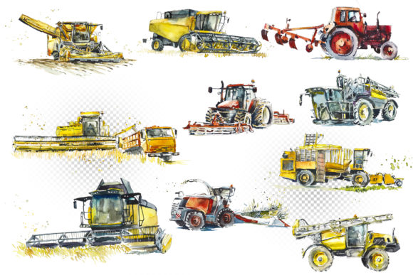 Watercolor Agricultural Machinery Graphic Item