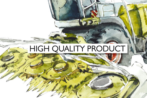 Watercolor Agricultural Machinery Graphic Design