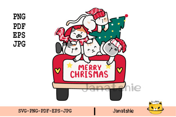 Cat Friends Christmas Tree on Red Car Graphic Illustrations By Janatshie