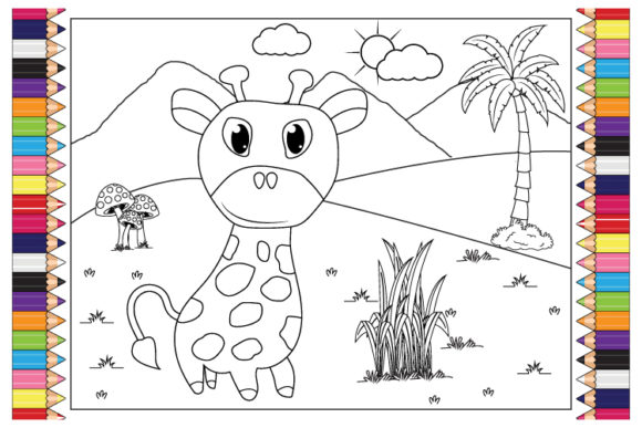 Print on Demand: Coloring Giraffe Animal Cartoon for Kids Graphic Illustrations By curutdesign