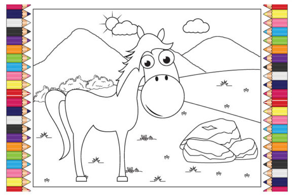 Print on Demand: Coloring Horse Animal Cartoon for Kids Graphic Illustrations By curutdesign