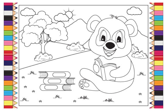 Print on Demand: Coloring Panda Animal Cartoon for Kids Graphic Illustrations By curutdesign