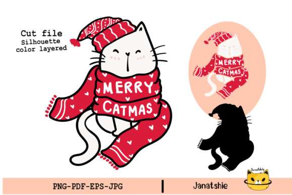 Cute Happy Cat Red Christmas Scarf SVG Graphic Illustrations By Janatshie