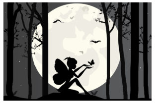 Print on Demand: Fairy and Moon Silhouette Graphic Illustrations By curutdesign