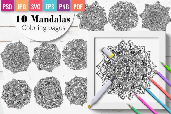 10 Mandalas Coloring Pages  for Adults Graphic Coloring Pages & Books Adults By DoodleBox