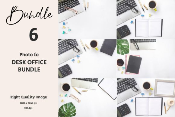 BUNDLE Photo of 6 Mock Up Desk Office Graphic Backgrounds By Avadesing