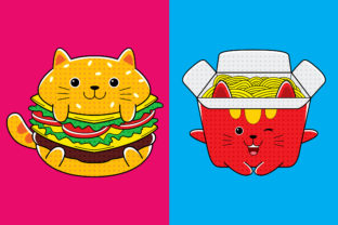 Cats Fast Food (Burger & Spaghetti) Graphic Illustrations By medzcreative