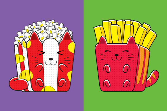 Cats Fast Food (French Fries & Popcorn) Graphic Illustrations By medzcreative