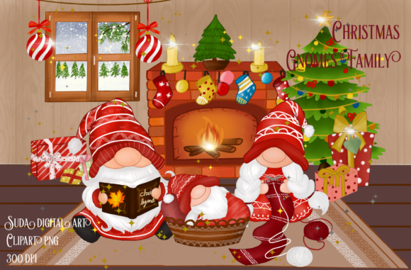 Print on Demand: Christmas Cute Family Gnomes Clipart Graphic Illustrations By Suda Digital Art