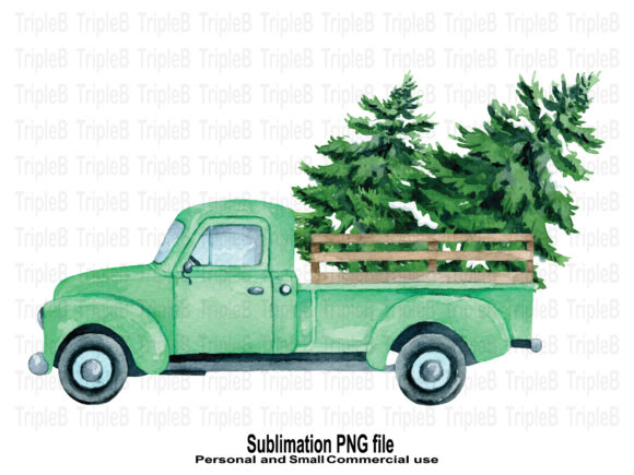 Print on Demand: Christmas Tree Green Pickup Sublimation Graphic Crafts By TripleBcraft