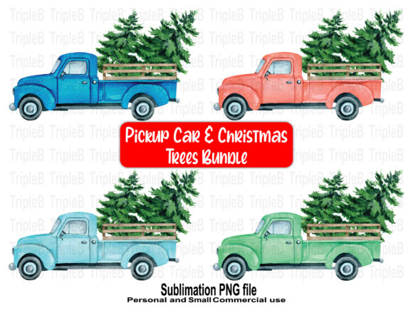 Print on Demand: Christmas Tree Pickup Car Bundle Designs Graphic Crafts By TripleBcraft