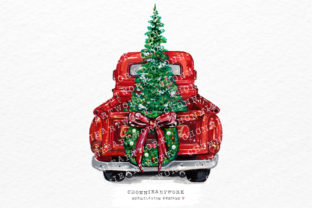 Print on Demand: Christmas Truck Clipart Graphic Crafts By Chonnieartwork