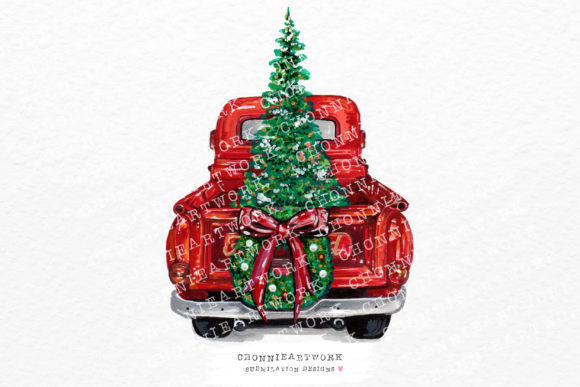 Christmas Truck Clipart Graphic Crafts By Chonnieartwork