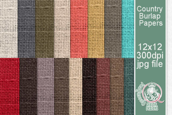 Print on Demand: Country Burlap Paper Pack Graphic Backgrounds By QueenBrat Digital Designs