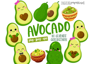 Print on Demand: Cute Avocado Graphic Illustrations By DigitalPapers