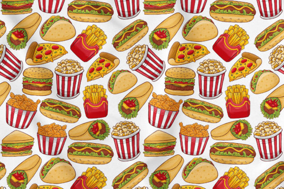 Fast Food Seamless Pattern #1 Graphic Patterns By medzcreative
