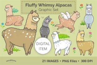 Fluffy Whimsical Alpacas Clip Art Set Graphic Illustrations By Dreamesaya