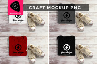 Folded Tee & Sneakers Craft PNG Mockup Graphic Product Mockups By RisaRocksIt
