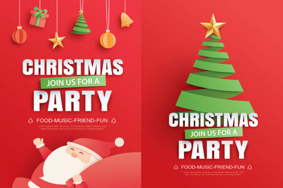 Merry Christmas Party Card 3 Graphic Illustrations By khanisorn