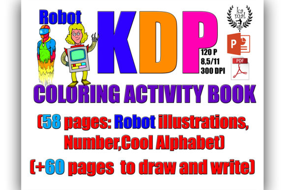 Robot Activity Book (KDP) Graphic KDP Interiors By Kamal Essouafi